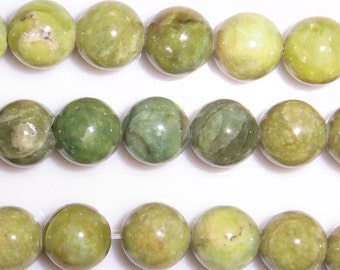 10mm Round Olivine Natural Bead Semiprecious Gemstone Bead String Beading 15''L Jewelry Supply Wholesale Beads