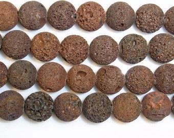 14 mm Round Natural Brown Lava Beading 15''L Semiprecious Gemstone  Jewelry Supply Wholesale Beads