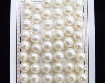 Freshwater Pearl Beads Genuine Natural Pearl 10-11mm Button White 1x Pair Wholesale Pearls