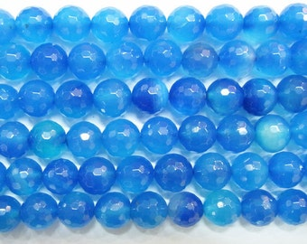 6mm Round Hand Cut Agate Beads Light Blue 15''L Natural Genuine Semiprecious Gemstone Bead Wholesale Beads