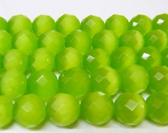 "Cat Eye Beads 8mm Round Cut Moss Green Semiprecious Gemstone 15""L Wholesale Loose Beads"