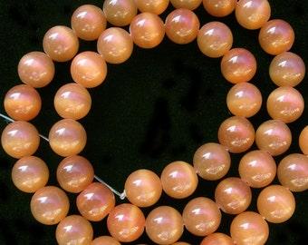 "Cat Eye Beads 8mm Round Light Brown Semiprecious Gemstone 15""L Bead Wholesale Beads"