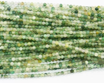 Moss Agate Beads 2mm Round 15''L Natural Genuine Semiprecious Gemstone Bead Wholesale Beads