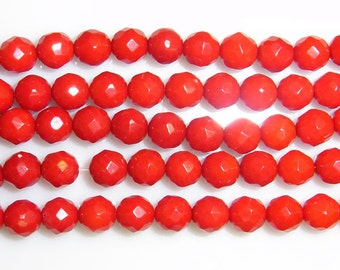 Coral Natural Genuine Loose Beads 8mm Round Cut Bamboo Red 15 inches length, 38 cm- Wholesale Coral