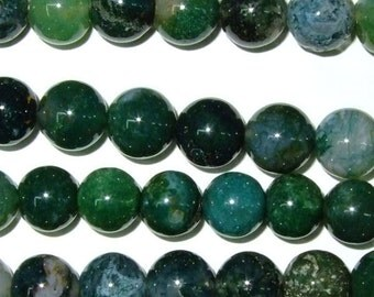 Moss Agate Beads 10mm Round 15''L Natural Genuine Semiprecious Gemstone Bead Wholesale Beads
