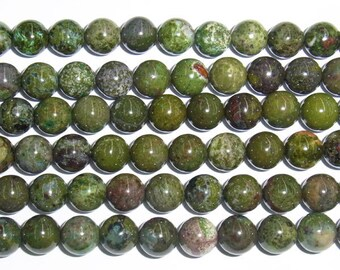 "8mm Round Green Forest Jasper Bead Semiprecious Gemstone 15""L 15""L Bead String Beading  Jewelry Supply Wholesale Beads"