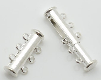 Jewelry Clasp 12mm Clasp Slide Lock 3 String Silver Tone 10 Loose Beads Wholesale Clasp Finding Bulk Jewelry Supply