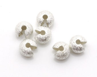Finding Crimp Beads 7mm Stardust Silver Tone 100 Loose Beads Wholesale Clasp Finding Bulk Jewelry Supply