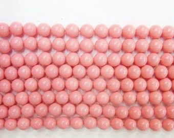 Coral Natural Genuine Loose Beads 8mm 10mm Round Shell Rose Type A Grade 15 inches length, 38 cm - Wholesale Coral
