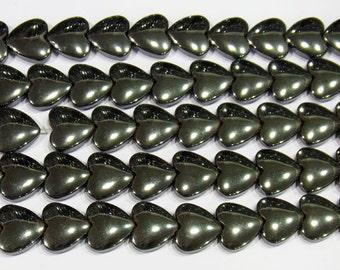 Hematite Beads 16mm Heart Natural Bead Semiprecious Gemstone - 15''L Jewelry Supply