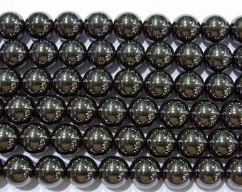 Hematite Beads 10mm Round Magnetic Bead Semiprecious Gemstone 15''L Jewelry Supply