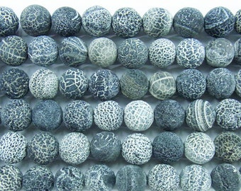 Matte Raw Agate Beads 6mm 8mm 10mm 12mm 14mm 16mm Round  Black 15''L Natural Genuine Semiprecious Gemstone Bead Wholesale Beads
