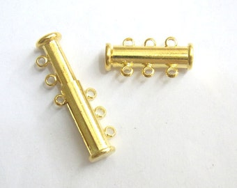 Jewelry Clasp 12mm Slide Lock Clasp 3 String Gold Tone 15 Loose Beads  4034 Wholesale Clasp Finding Bulk Jewelry Supply
