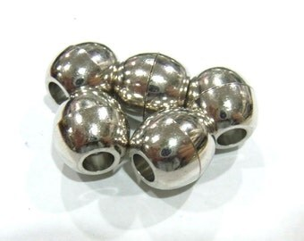 Jewelry Clasp 12x13mm Tube Clasp Magnetic Silver Tone Hole Size 5mm 10 Loose Beads  4162 Wholesale Clasp Finding Bulk Jewelry Supply