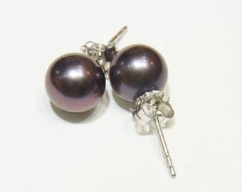 Freshwater Pearl Beads Genuine Natural Pearl 9-10mm Black Pearl Ear Sticker AAA Grade Full Gold 14K 1 Pair 4374 Wholesale Pearls