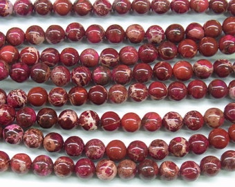 "Sea Sediment Imperial Jasper Beads 4mm Round Red Loose Beads Semiprecious Gemstone 15""L 4419 Wholesale Beads"