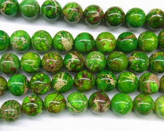 "Sea Sediment Imperial Jasper Beads 10mm Round Yellow Green Loose Beads Semiprecious Gemstone 15""L 15""L 4426- Wholesale Beads"