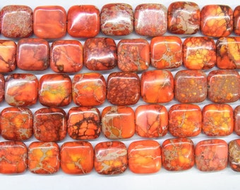 "Sea Sediment Imperial Jasper Beads 14mm Square Orange Loose Beads Semiprecious Gemstone 15""L 15""L  Supply 4541- Wholesale Beads"