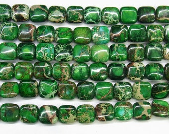 "Sea Sediment Imperial Jasper Beads 12mm Square Green Loose Beads Semiprecious Gemstone 15""L 15""L  Supply  4535- Wholesale Beads"
