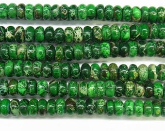 "Sea Sediment Imperial Jasper Beads 6mm Rondelle Green Loose Beads Semiprecious Gemstone 15""L 15""L  Supply  4533- Wholesale Beads"