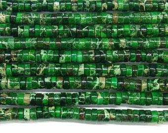 "Sea Sediment Imperial Jasper Beads 6mm Heishi Loose Beads Semiprecious Gemstone 15""L 15""L Green- 4559- Wholesale Beads"