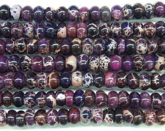 "Sea Sediment Imperial Jasper Beads 6mm Rondelle Loose Beads Semiprecious Gemstone 15""L 15""L Purple- 4555- Wholesale Beads"