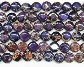 "Sea Sediment Imperial Jasper Beads 18mm Flat Round Loose Beads Semiprecious Gemstone 15""L 15""L Purple 4551- Wholesale Beads"