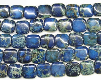 "Sea Sediment Jasper Beads 8mm Square Loose Beads Semiprecious Gemstone 15""L 15""L Blue 4546- Jewelry Supply Wholesale Beads"