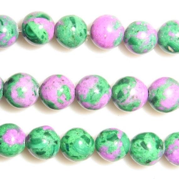 "Sea Sediment Imperial Jasper Beads 10 mm Round Pink Green Loose Beads Semiprecious Gemstone 15""L 15""L Wholesale Beads"