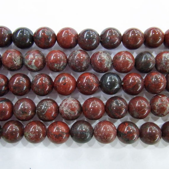 "6mm Round Red Flower Jasper Bead Semiprecious Gemstone 15""L 15""L Bead String Beading Jewelry Supply Wholesale Beads"