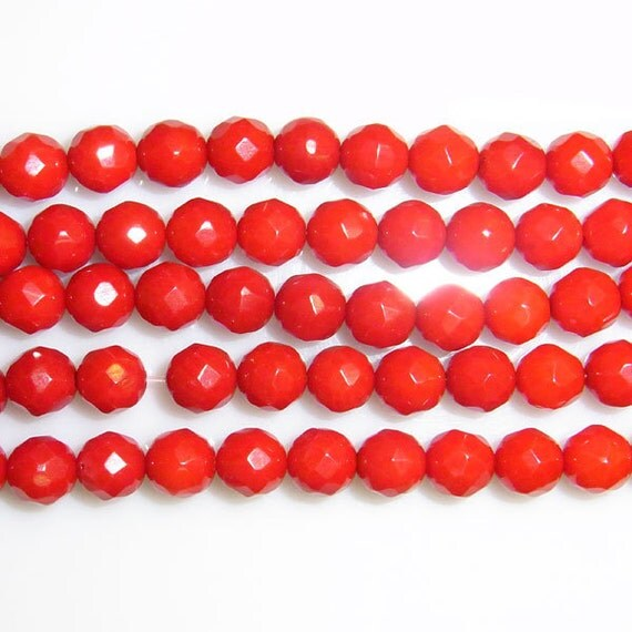 Coral Natural Genuine Loose Beads 6mm Round Cut Bamboo Red 15 inches length, 38 cm- Wholesale Coral