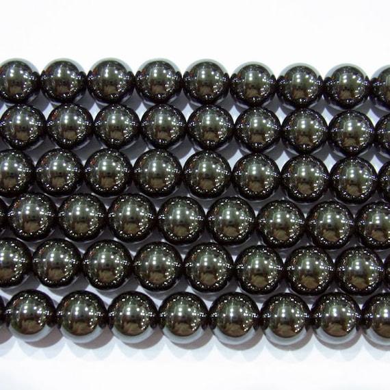 Hematite Beads 8mm Round Natural Bead Semiprecious Gemstone 15''L Jewelry Supply