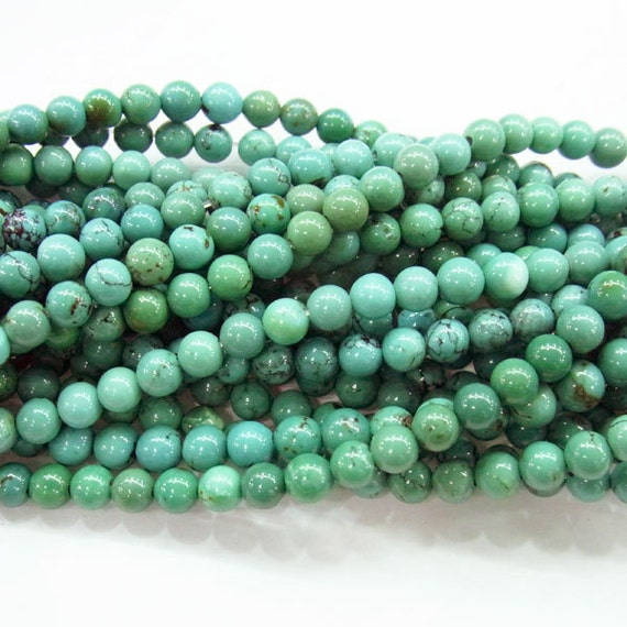 Turquoise Beads 4mm Round Genuine Semiprecious Gemstone Bead Bead A Grade Wholesale Beads 4244 -