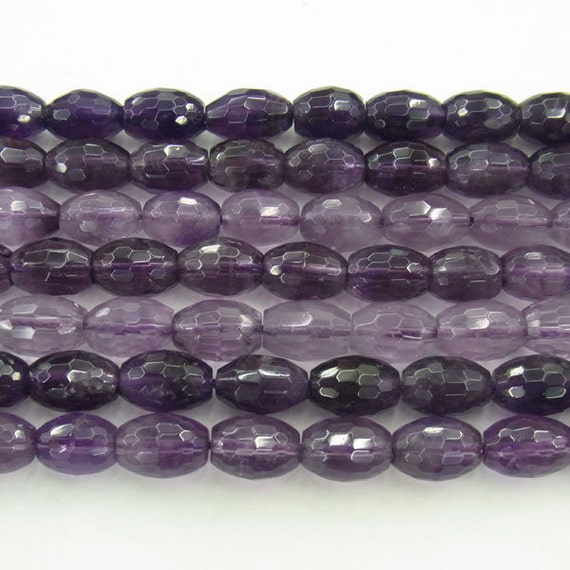 4x6mm Rice Cut Genuine Amethyst Bead Semiprecious Gemstone Bead Wholesale Beads4259  - 15''L Jewelry Supply Wholesale Beads