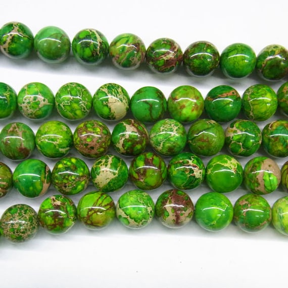 "Sea Sediment Imperial Jasper Beads 12mm/14mm/16mm  Round Yellow Green Loose Beads Semiprecious Gemstone 15""L 15""L 4426- Wholesale Beads"