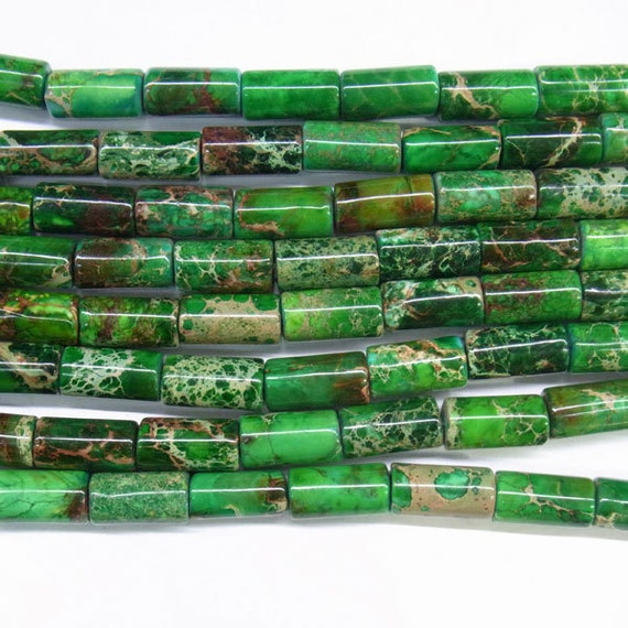 "Sea Sediment Imperial Jasper Beads 6x12mm Column Green Loose Beads Semiprecious Gemstone 15""L 15""L  Supply  4534- Wholesale Beads"