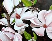 "Magnolia Art, Magnolia painting, Black Pink Green, Magnolias & Sphinx Moth, 8"" x 8"" PRINT"