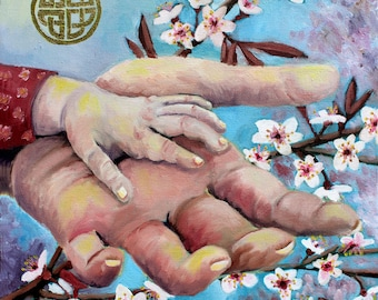 Hands Of Love, GREETING CARD - mother and child art, holding hands, human hands