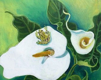 Calla Lilies & Tree Frog, GREETING CARD - flower art print, calla lily art, calla lily painting, frog art