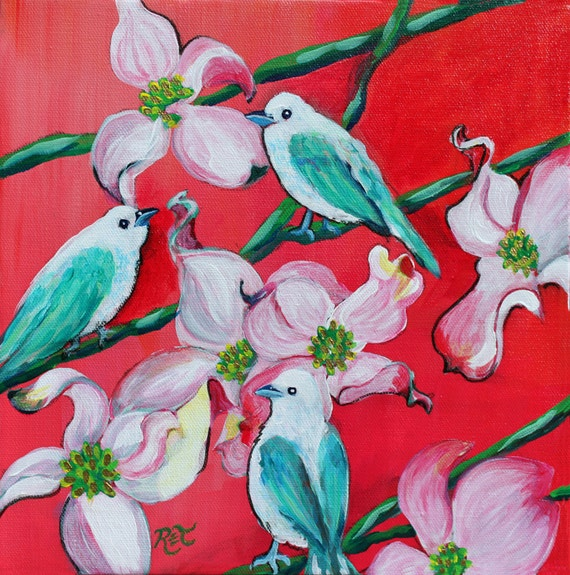 "Tanager Birds and Dogwood 11"" by 11"" PRINT - Bird Art, Bird Art Print, Dogwood Art, Turquoise birds, red and turquoise"