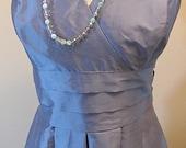 Vintage Ann Taylor Blue Silk Evening Formal Dress Size 8