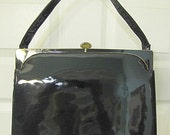 Reserved for UK ......Vintage Black Patent Large Lewis Purse With Brass Accessories 1960s