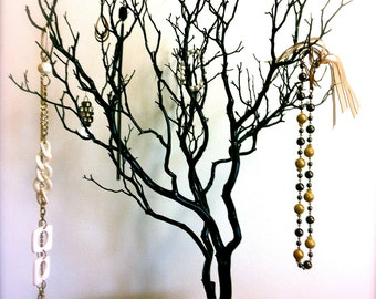 "30"" Black / Painted Tree Jewelry holder / Jewelry Organizer"