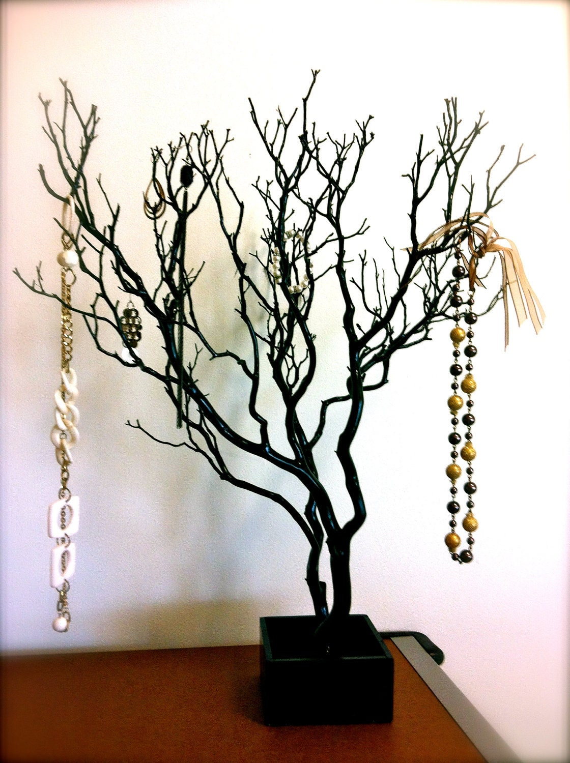 30 black painted tree jewelry holder jewelry for Tree branch jewelry holder