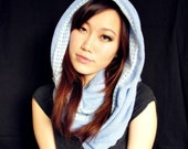 Infinity scarf : long circle scarf snood hood -- two toned blue periwinkle