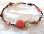 SALE:  Fremantle Collection necklace - knotted, red woodland