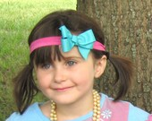 FREE Shipping Pink Strechy Headband with Turquoise Bow