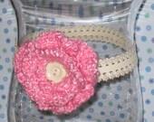Pink Crocheted Flower Headband