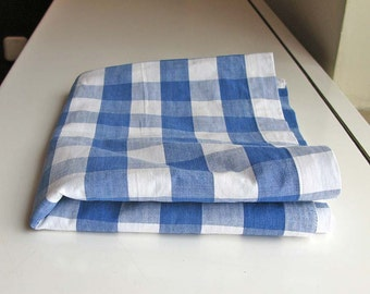 Vintage Gingham Cotton Fabric - blue