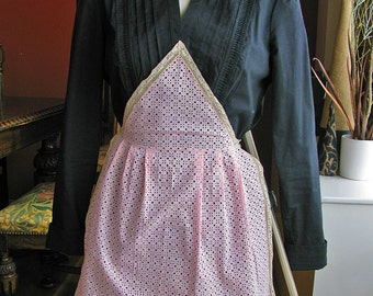 SALE - Reduced from USD32 - Antique Cotton Embroidered Maid Apron